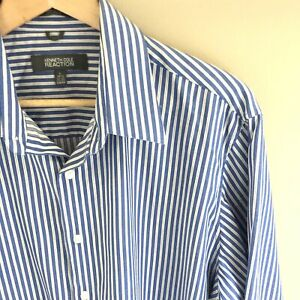 Kenneth Cole Reaction Mens Large 16.5 32 33 Slim Fit Dress Shirt Blue White L