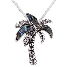 """Palm Tree Abalone Shell Pendant Necklace 18"""" Mesh Chain"""