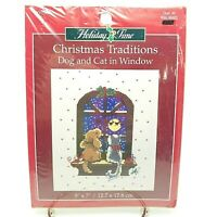 Counted Cross Stitch Kit Christmas Dog and Cat in Window 5x7 inch Holiday Time