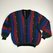 Men's Vtg 1980s Coogi-Style Bright Multicolored Striped 100% Wool V-Neck Sweater