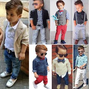 Toddler Baby Boy Set T Shirt Coat + Pants Outfits Gentleman Formal Blazer Suits