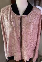 NWT Lularoe Elegant Stevie Bomber Jacket 3XL Pink Appliqué Zip Front
