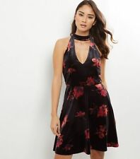 New look skater dress - floral velvet - black/red - size 8 - new with tags!