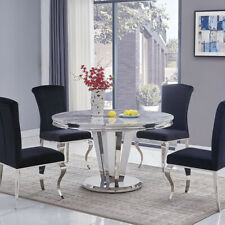 Riccardo Grey Marble & Chrome 1.3m Round 5 Piece Set (Black Liyana Chairs)