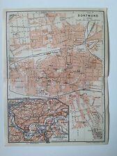 Dortmund, Germany, 1913 Antique Street Map, Original Wagner & Debes, Atlas