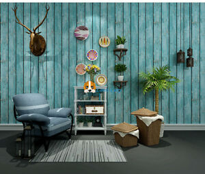 3D Rustic Shabby Chic French Timber Plank Wallpaper Wood French Provincial Blue