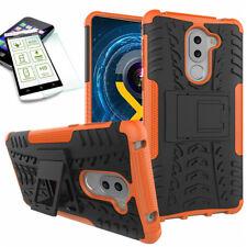 Hybrid Case 2teilig Orange für Huawei Honor 6X + Hartglas Tasche Hülle Cover