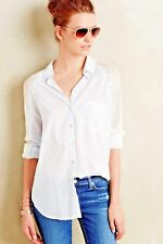 NEW  Anthropologie sz L White Cotton Long Lace Sleeved Shirt by Holding Horses