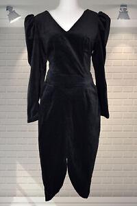 Vintage Vampy 1980s Velvet Puffed Sleeves Tulip Skirt Wiggle Dress - UK 10