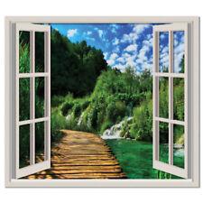 Décorations murales et stickers verts avec fenêtre pour la maison