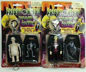 Vintage  Skeleton and Vampire Coffin 2001 Agglo Keychain Fright Night Halloween