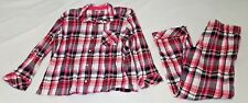 Victorias Secret Pajama Sleep 2 Piece Plaid Set Black Pink White M Medium Womens