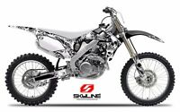 2003 2004 YAMAHA YZ 250F / YZ450F GRAPHICS KIT BONECRUSHER : BLACK / WHITE DECAL