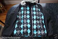 ROXY 5000*Hooded Snowboard/Ski Jacket*Ladies Med*Black*Blue/Gray/White Argyle*