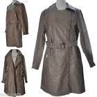 Manteau Long Femme Simili Cuir Aspect Vielli Trench MARRON T 4 46 48 SYDNEY