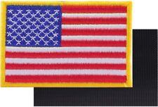 AMERICAN FLAG MOTORCYCLE VEST BIKER PATCH GOLD EDGES  Embroidered VELCRO® AFV-1