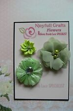 HANDMADE 3 Flower Mix SAGE GREEN Organza Satin -  30, 50, & 60mm NjoyfullCrafts
