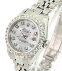 Rolex Womens Datejust SS White MOP  Diamond Dial Diamond U Bezel 26mm Watch
