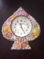 Vintage Spade Shaped Handmade Sea Shell Beach House Wall Clock Phillipines