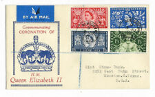 GB 1953 Coronation set of 4 registered FDC Cornwall CDS to USA / better cachet