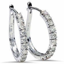 Classy 0.80 Cts Natural Diamonds Hoop Earrings In Solid Hallmark 18K White Gold