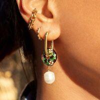 Elegant Women Flower Pearl Stud Drop Dangle Earrings Fashion Party Jewelry Gift