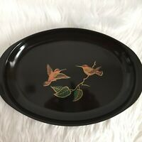 "Couroc Oval Serving Tray Hummingbirds on Branch Vintage 10"" X 15"" Metal Inlay?"