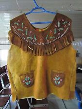 AUTHENTIC HOME TANNED BEADED MOOSE HIDE NATIVE AMERICAN VEST, UNISEX, LARGE SIZE