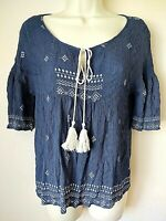 Chloe K Short Bell Sleeve Peasant Boho Stretch Blouse Top w/Tassels Womens Small