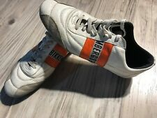 Men DIRK BIKKEMBERGS  Size 7.5 US EURO 41 White Orange Leather Shoes Sneaker☕B4