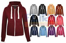 Hoodie Zipper Sweatshirt PLUS SIZE Hoody Plain Hooded Zip Jacket Coat Top Womens