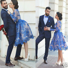 Long Sleeve A Line Blue Short Prom Dresses Applique Lace Party Gown Custom