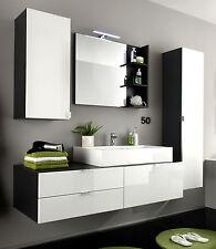 Badmöbel Badezimmer komplett Set weiß Hochglanz Waschtisch Waschbecken LED Beach