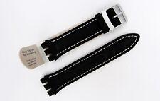 HIRSCH DAVID 64209550-2-23 black genuine calf leather strap for SWATCH  (06)