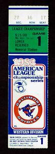 1983  ALCS GAME 1 TICKET STUB  BALTIMORE ORIOLES vs CHICAGO WHITE SOX