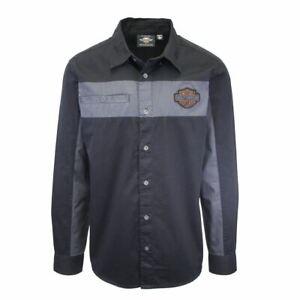 Harley-Davidson Men's Black Grey Two-Tone Copper Block L/S Woven Shirt (S04)