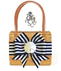 Bosom Buddy Emory Bag with Navy & White Bow & Rhinestone Octopus