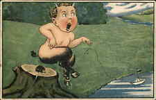 Fantasy Centaur Child Sits on Porcupine c1910 Postcard