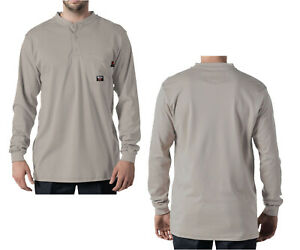 Walls Flame Resistant Clothes FR Shirts Henley Gray Industrial Work Uniform Med