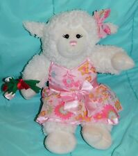 """17"""" Build a Bear Soft Plush Lamb in Pink Floral Dress w/ Matching Bow"""