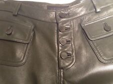 Olive Green Soft Leather Pants Button Up Sexy Rock N Roll