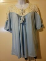 Plus size top 2X Zullily Blue top with lace New without tags med length