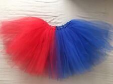 Nuevo hecho a mano para mujer harley Quinn Rojo Y Azul Tutu Vestido de fantasía