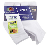 Fruit Of The Loom Big&Tall Mens Socks Everyday Cushioned Ankles 6 Pair Sz 12-16
