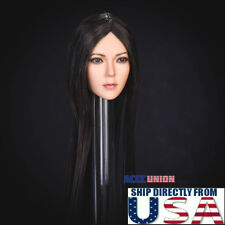 "1/6 Female Head Sculpt LONG BLACK HAIR For 12"" PHICEN VERYCOOL Figure SUNTAN"