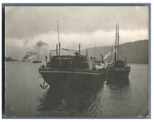 Allemagne, Image sur le Rhin  Vintage silver print. Tirage argentique  8x11