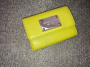 Michael Kors Jet Set Leather,Green Apple/Gold,Coin purse,wallet, keychain NWT