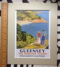 """Vintage mounted railway poster: Guernsey 1930s: 10"""" x 8"""" (reproduction)"""