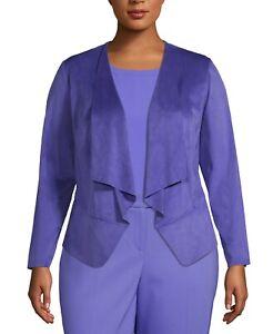 Anne Klein Women Purple Rainshadow Faux Suede Open Front Jacket Size 0X