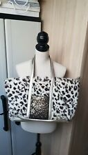 SOCO - SAC CABAS FAUSSE FOURRURE PANTHERE & SEQUINS & SIMILI CUIR ARGENT TBE